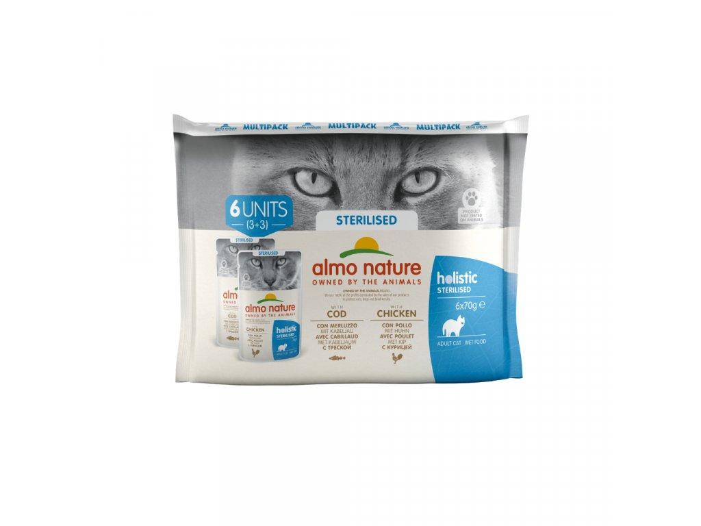 almo-nature-holistic-sterilised-cat-treska-a-kuracie-6x 70g-multipack