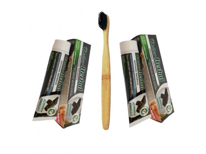 2x Dabur bieliaca zubná pasta saktívnym uhlím 100ml + kefka zadarmo