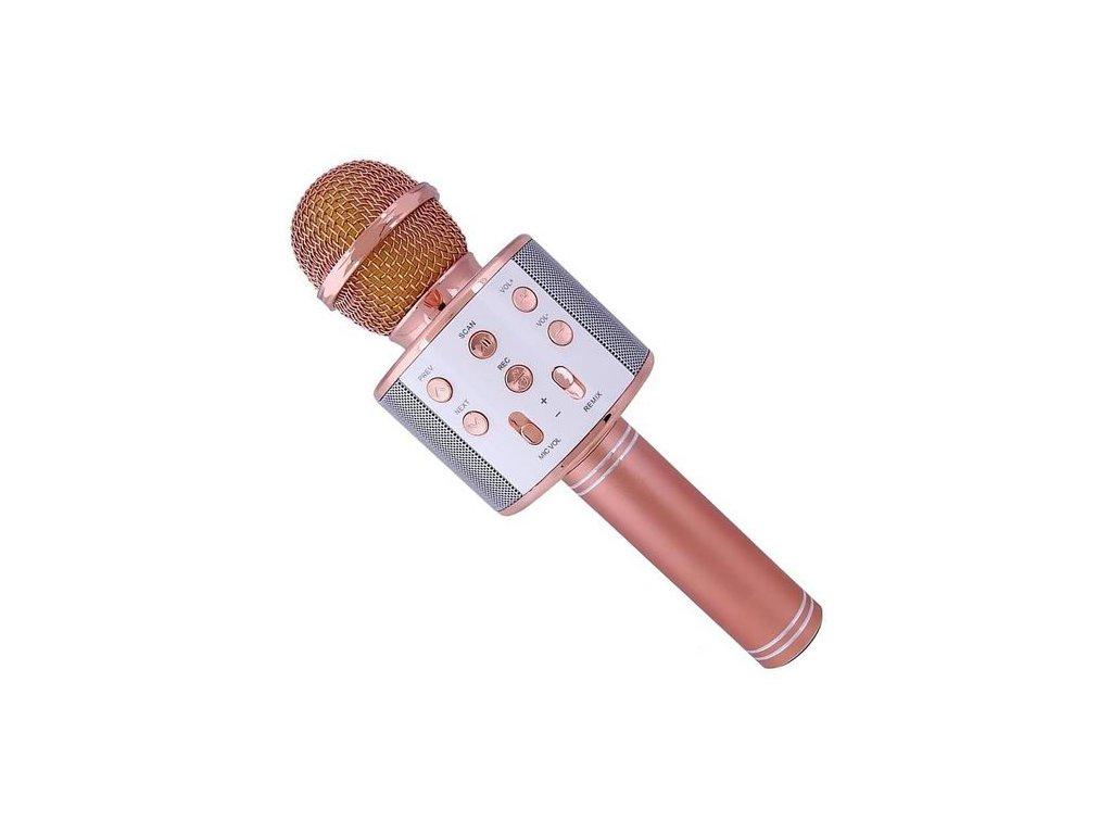 12851 5 bezdratovy karaoke mikrofon ws 858 rose gold