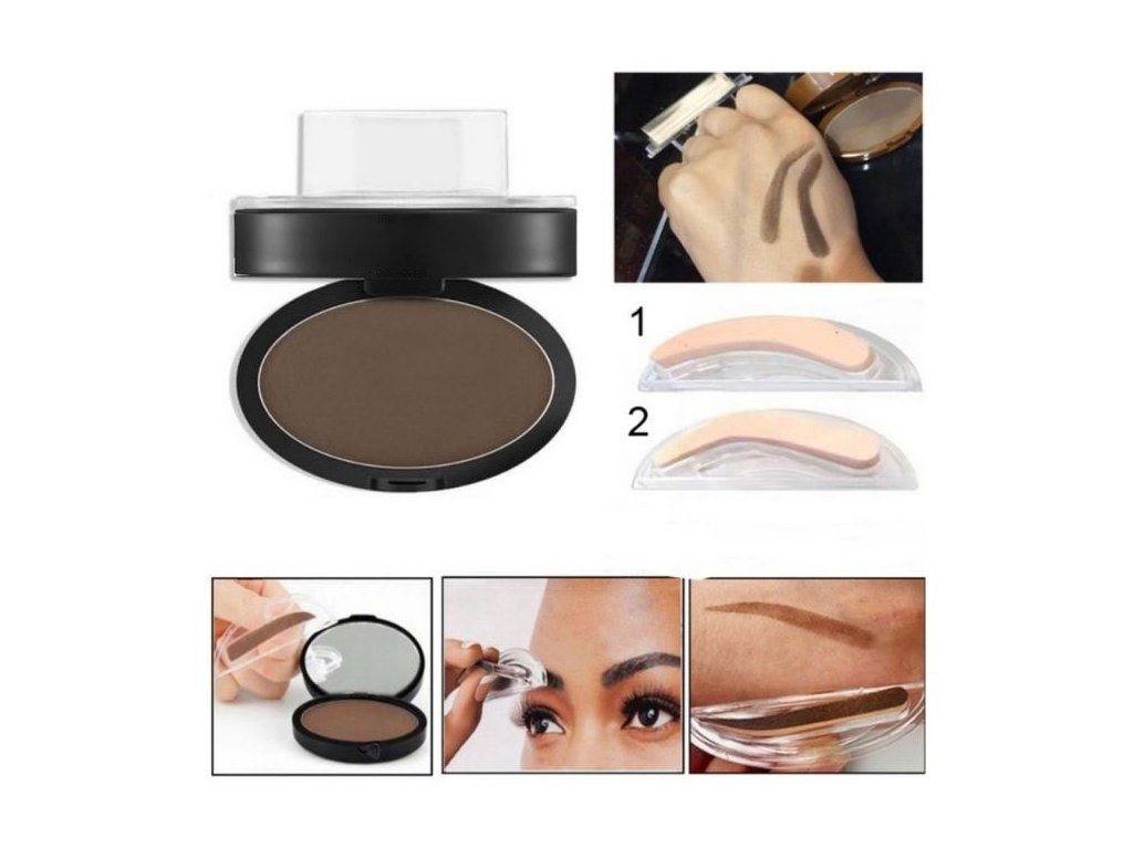 3 colors eyebrow stamp brwon and grey colors eyes makeup eye brow powder makeup tools 5