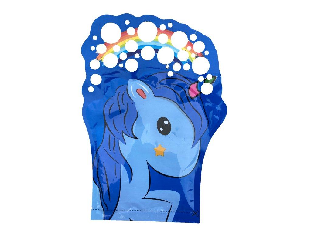 Bubbles zábavná rukavice s bublifukem - unicorn