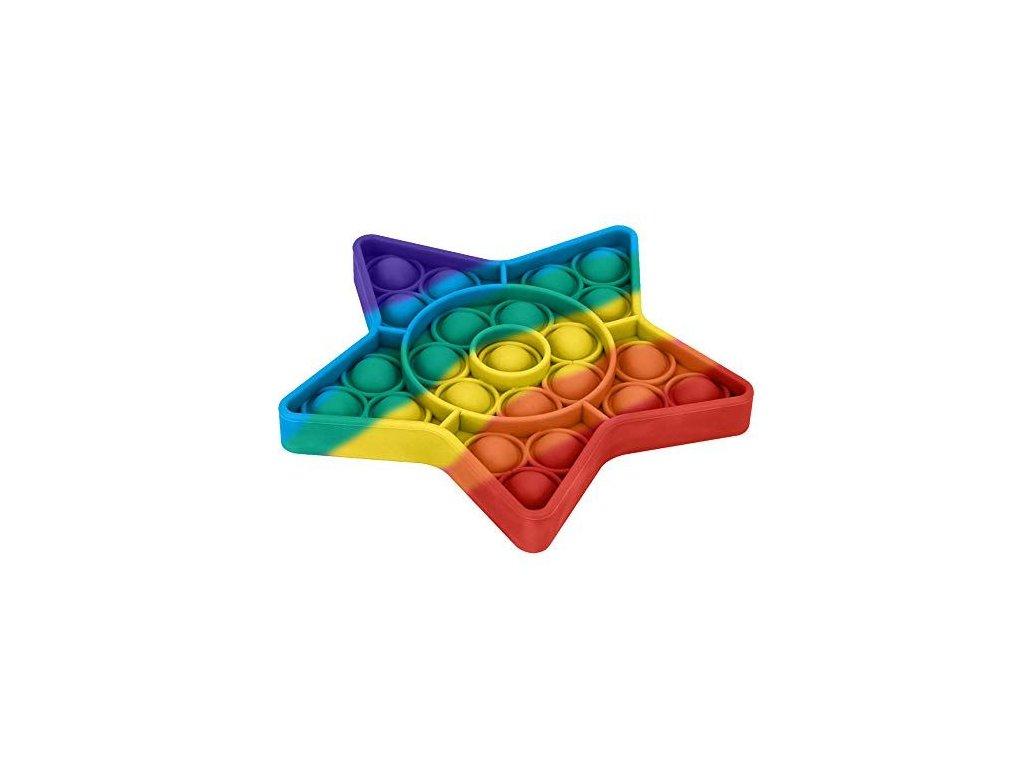Pop It Rainbow antistresová hračka hvězda