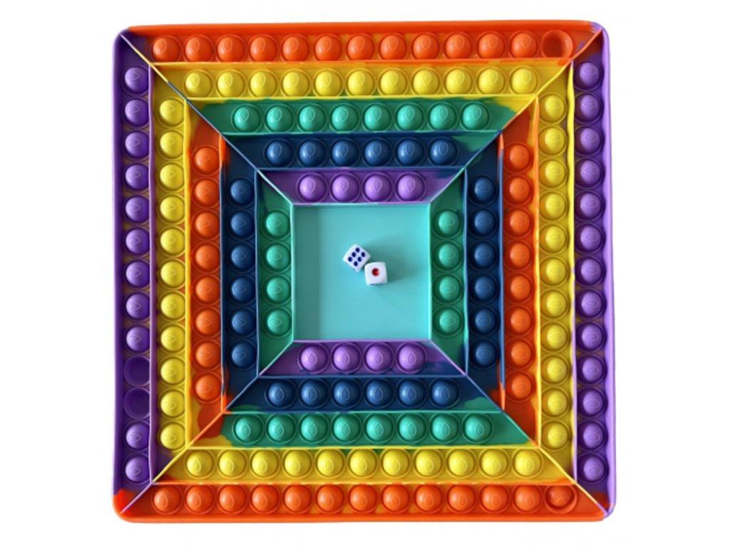 0021710 pop it rainbow mega jumbo s kostkami antistresova hracka ctverec