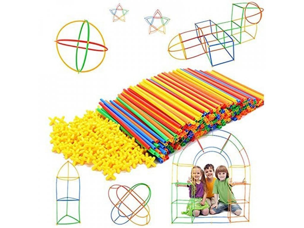 95924 0 100pcs kids plastic straws building blocks construction toys children spatial thinking games assembly toy