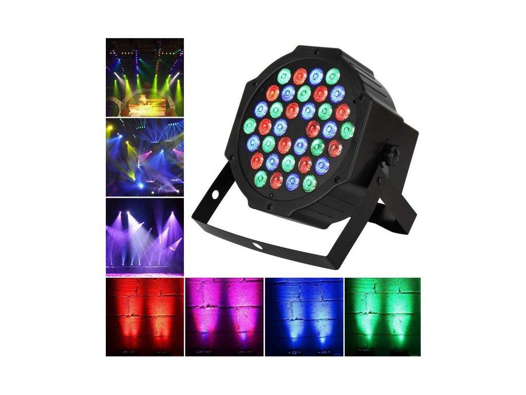 Led disco DJ světlo FLAT PAR LIGHT 36 RGB LED diod