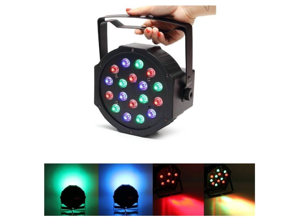 Led disco DJ světlo FLAT PAR LIGHT 18 RGB LED diod