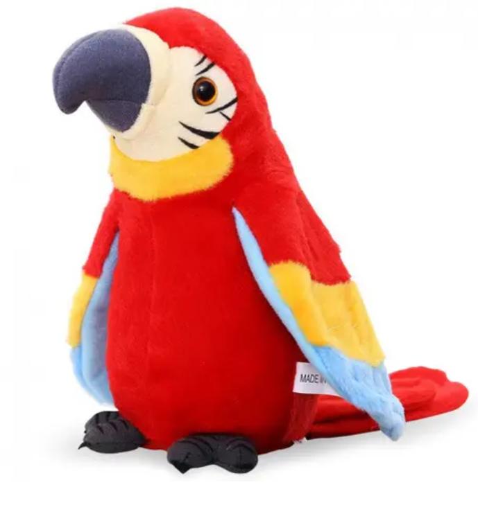 Interaktivní mluvící papoušek - červený