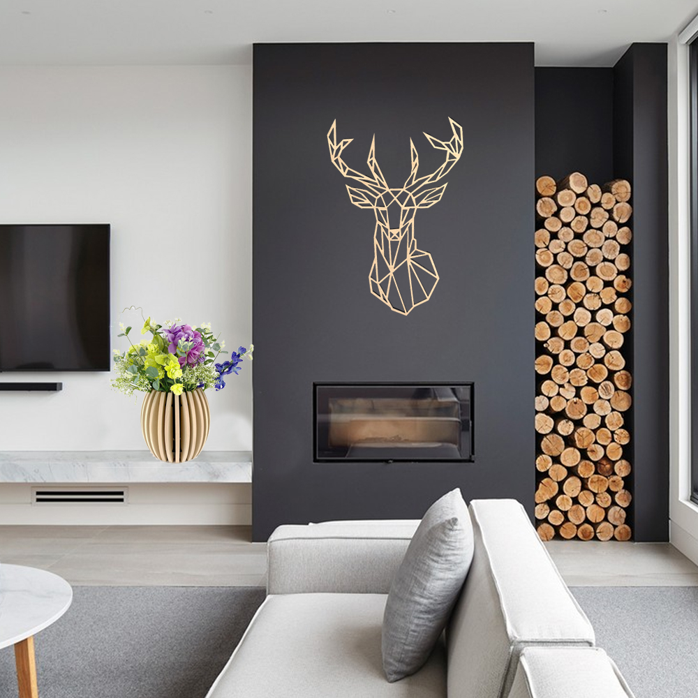 Dřevěná dekorace Jelen na zeď 21 cm
