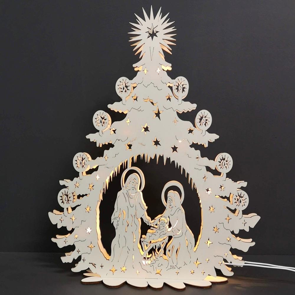 Dřevěný svítící portál strom s betlémem, 46x36x10 cm