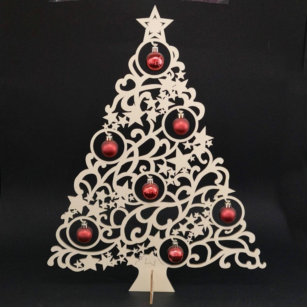 Dřevěný stromek s červenými kuličkami, výška 47 cm