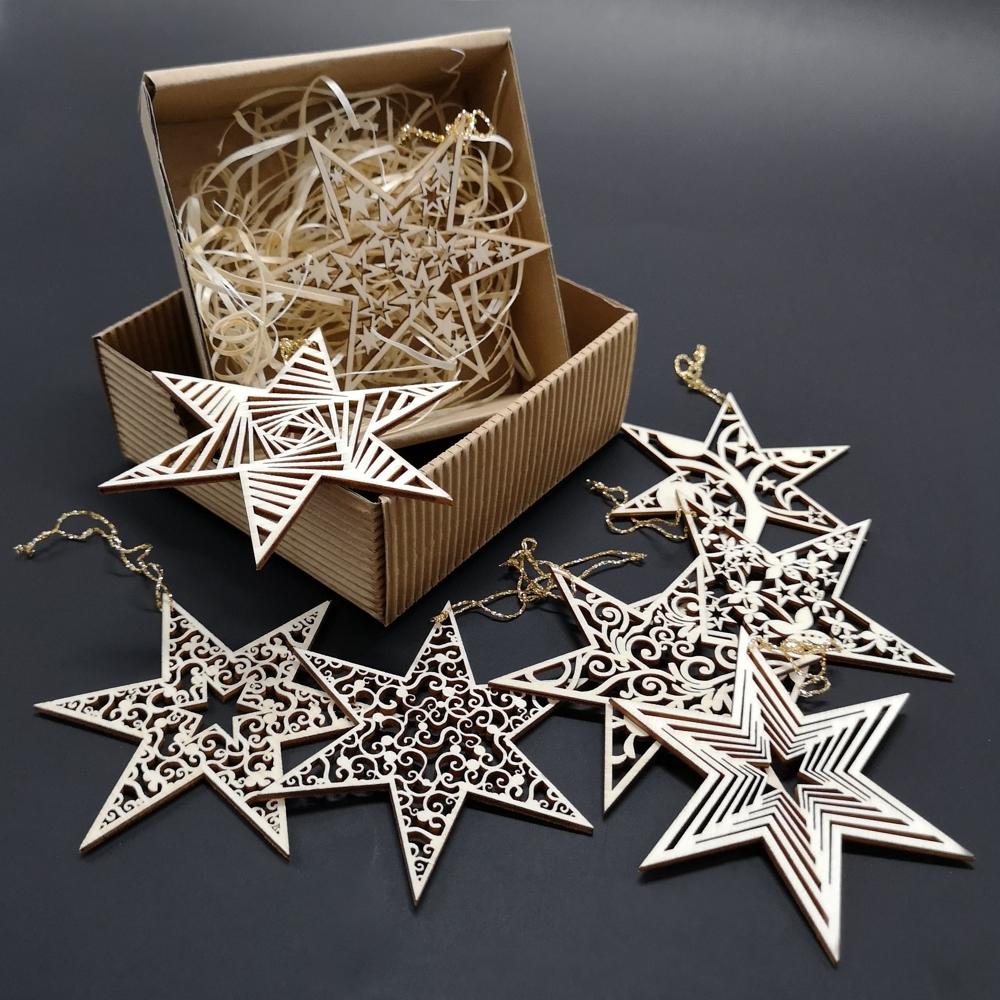 Sada dřevěných vánočních ozdob - hvězdy 8 druhů