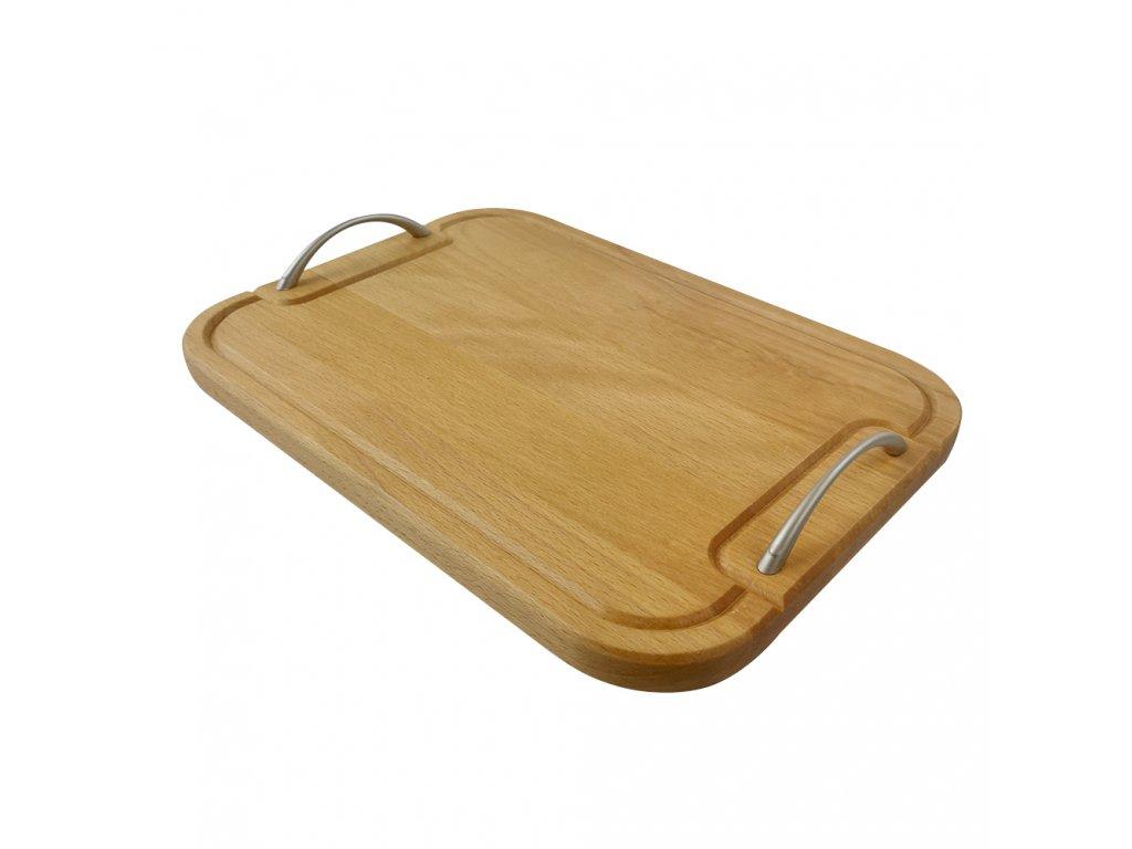 Dřevěný podnos s nerezovými úchyty obdelníkového tvaru, délka 35 cm