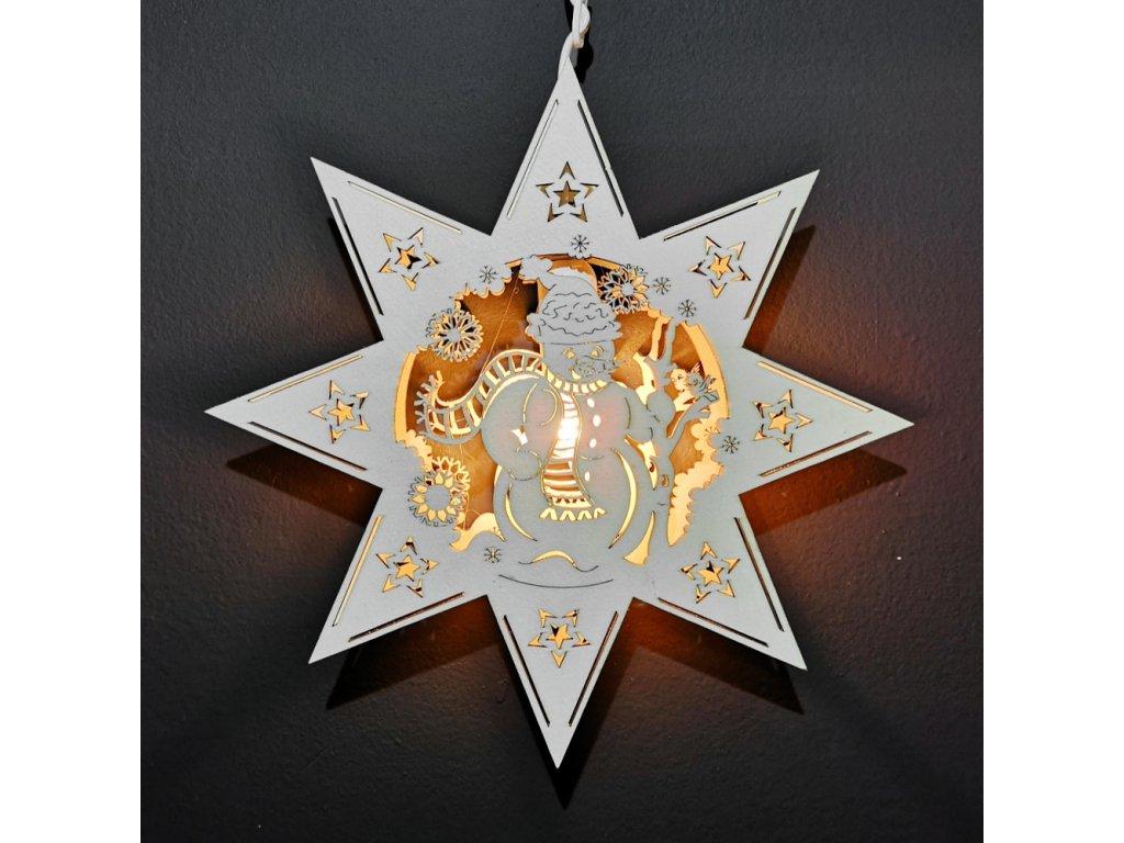 Dřevěná lampa sněhulák  ve hvězdě, 30 cm
