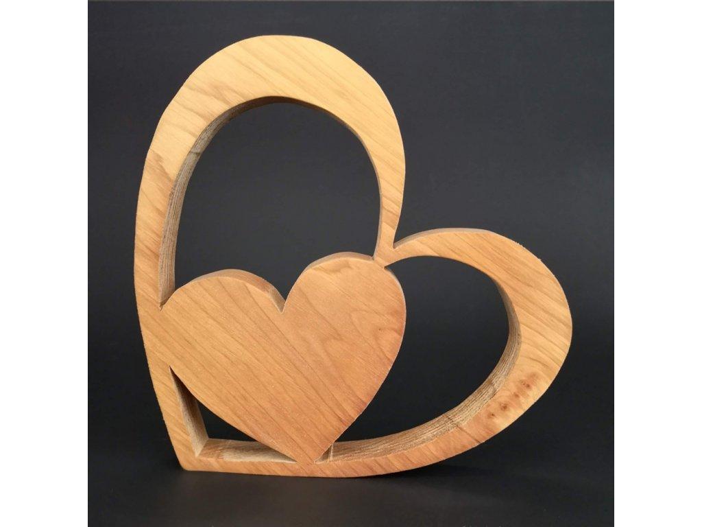 Dřevěná dekorace srdce v srdci, masivní dřevo, velikost 10 cm
