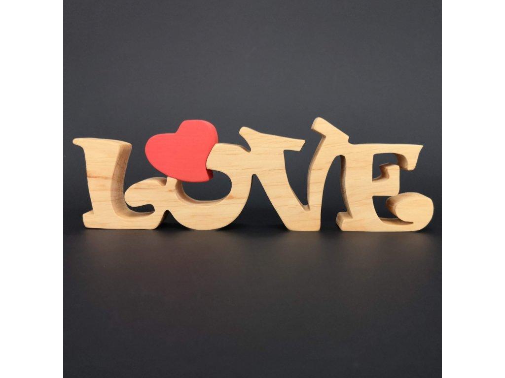 Dřevěná dekorace nápis LOVE, masivní dřevo, 25x8 cm
