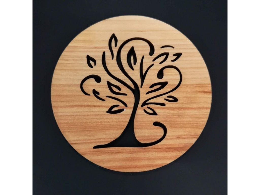 Dřevěný podtácek kulatý s motivem stromu, masivní dřevo, průměr 10 cm
