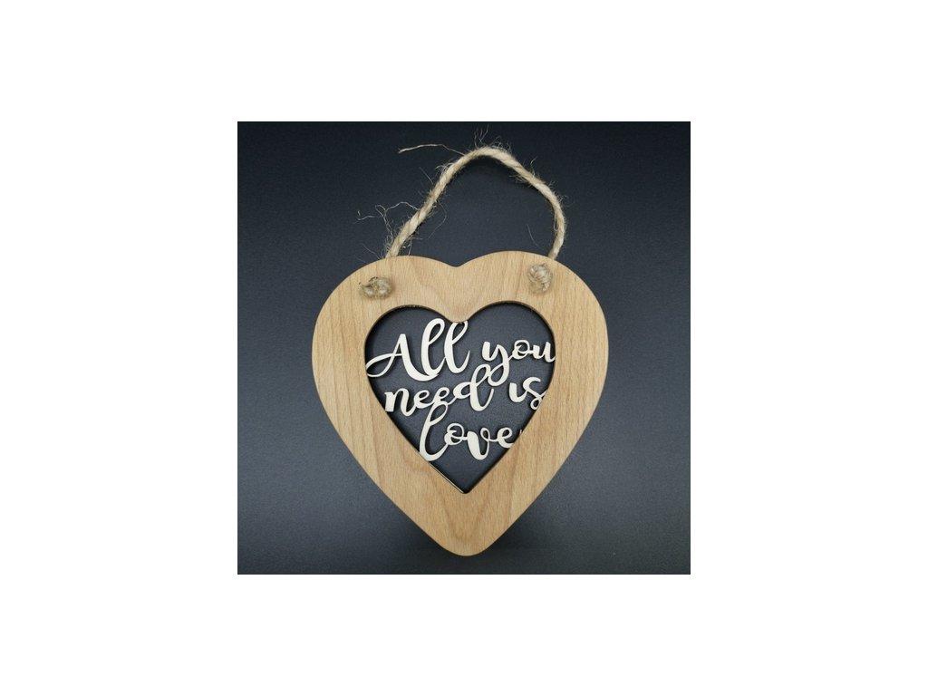 Dřevěné srdce s vkladem - All you need is love