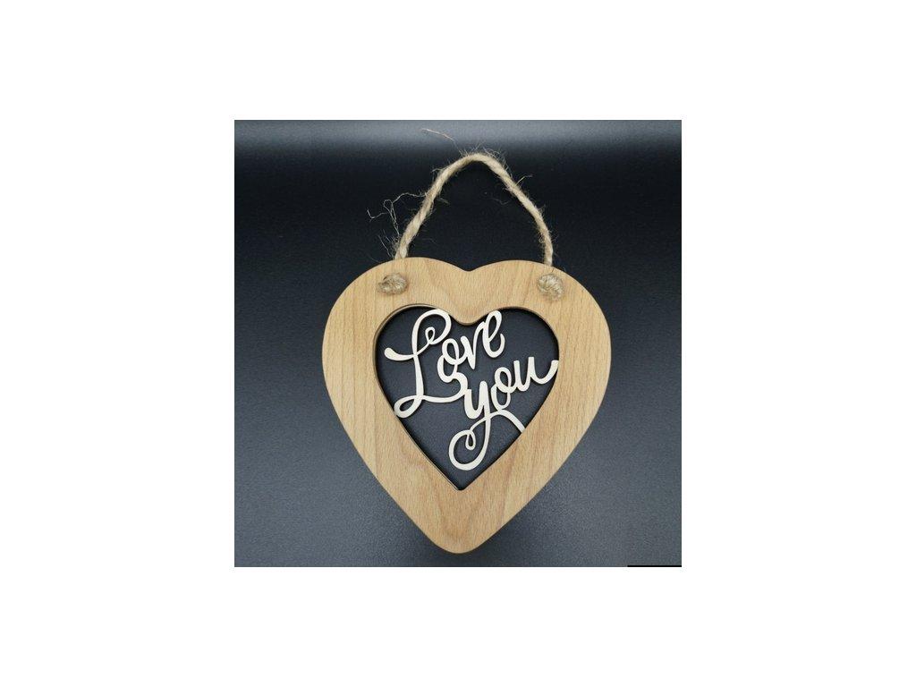 Dřevěné srdce s vkladem - Love you
