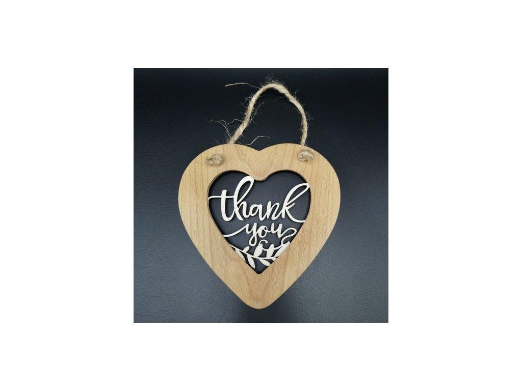 Dřevěné srdce s vkladem - Thank you