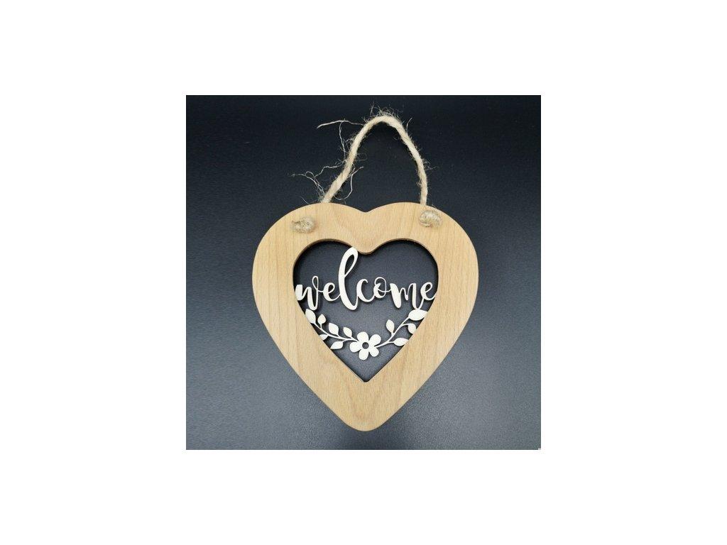 Dřevěné srdce s vkladem Welcome