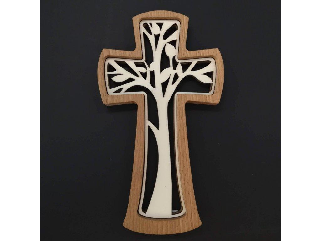 Dřevěný kříž z masivu s vkladem ve tvaru stromu 20 cm