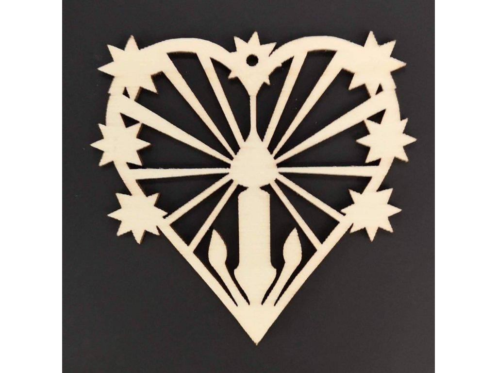 Dřevěná ozdoba srdce se svíčkou 7 cm