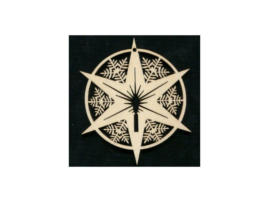 Dřevěná ozdoba hvězda v kruhu 9 cm