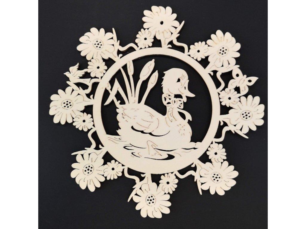 Dřevěná ozdoba květina s kachnou 18 cm