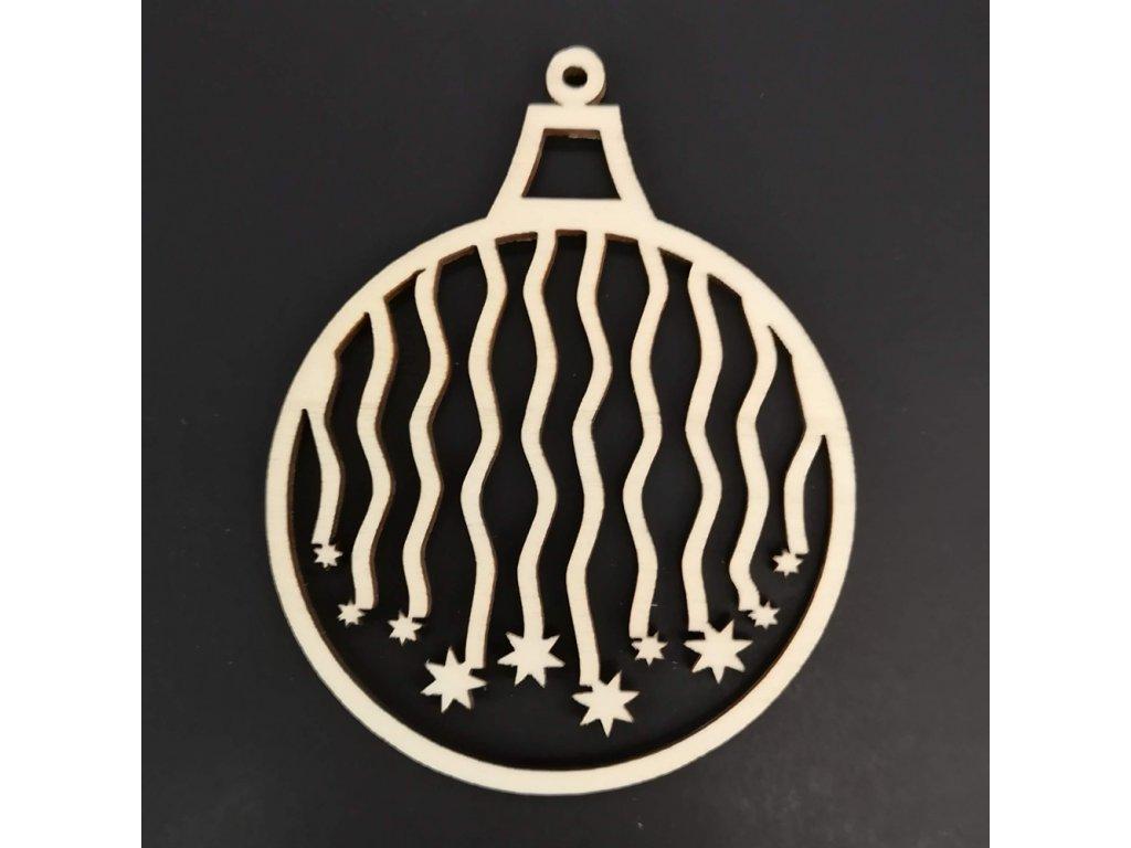 Dřevěná ozdoba koule s padajícími hvězdami 6 cm