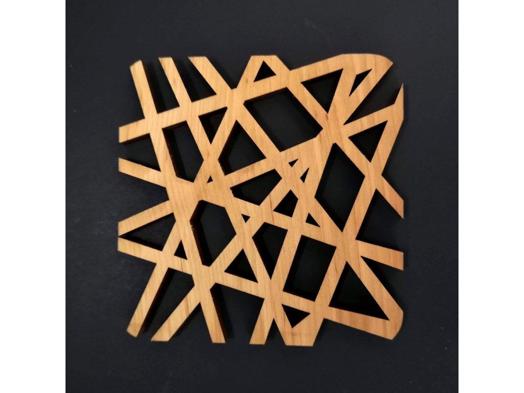 Dřevěný podtácek hranatý ve tvaru sítě, masivní dřevo, 9x9 cm