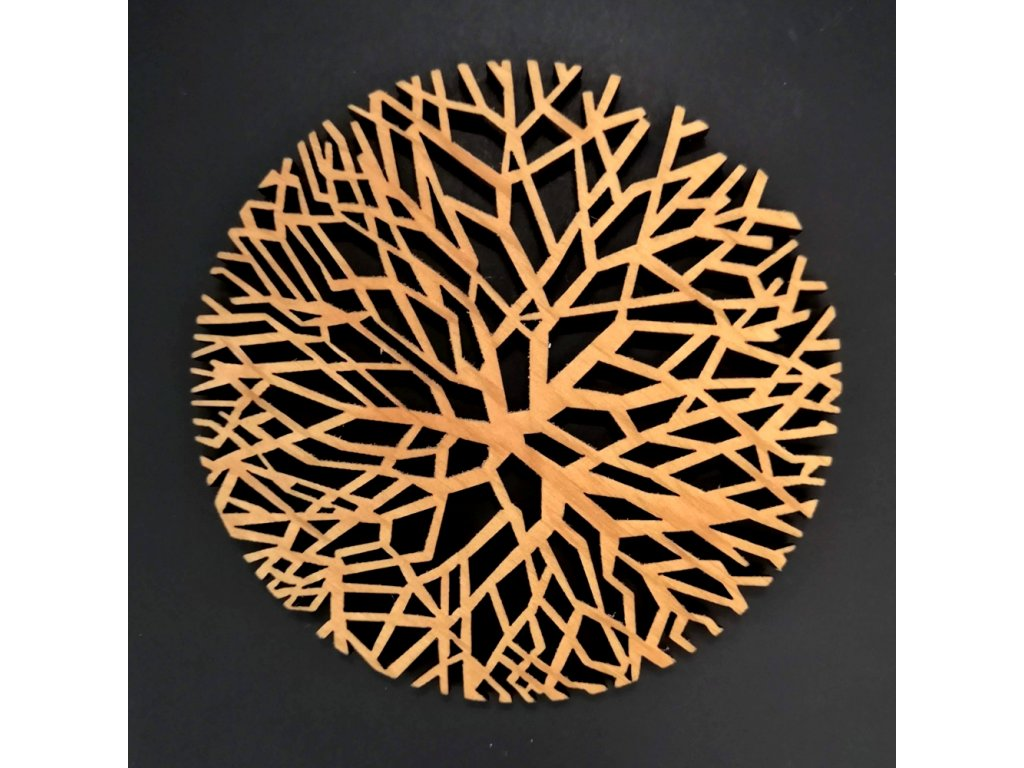 Dřevěný podtácek kulatý ve tvaru větviček, masivní dřevo, průměr 9 cm