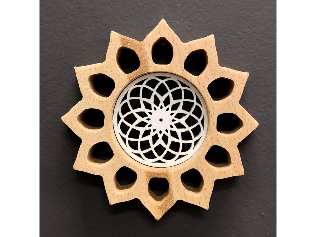 Mandala s vkladem na zavěšení, masivní dřevo, průměr 12 cm