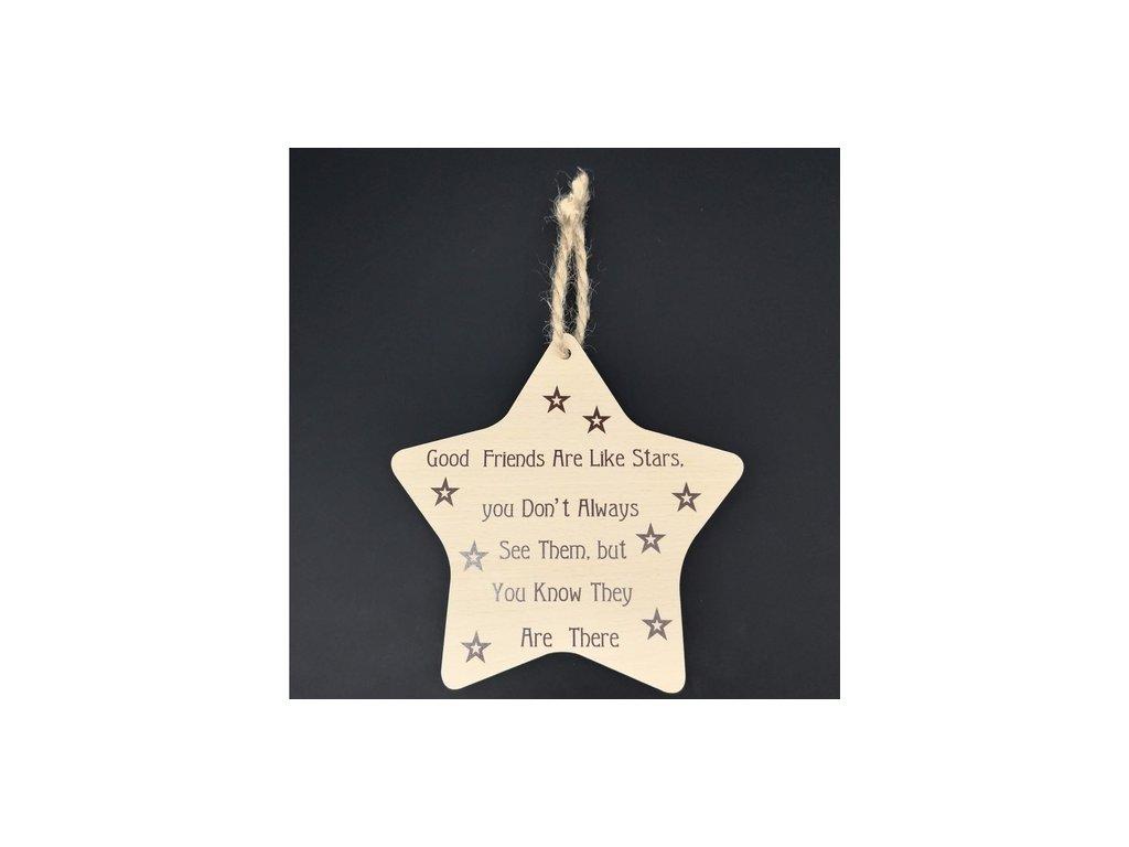 42383 good friends are like stars dekorace hvezda anglicky