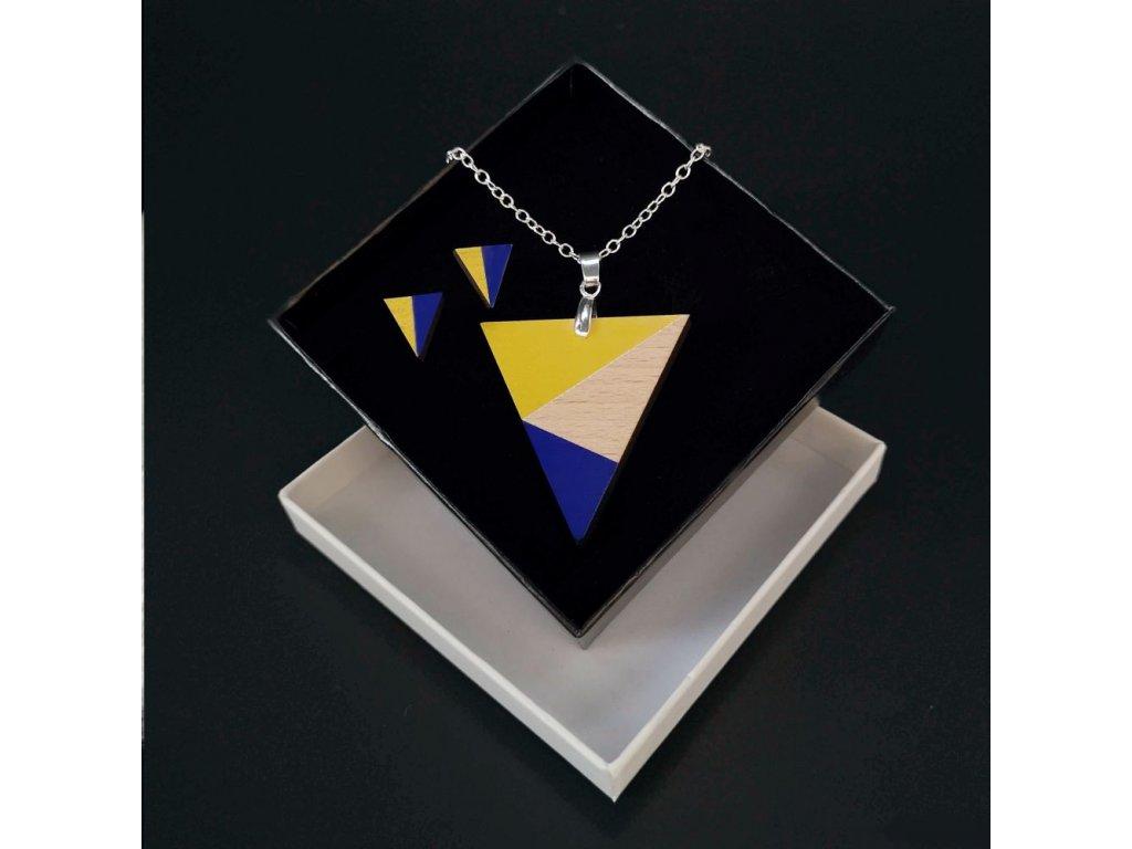 Sada dřevěný náhrdelník s náušnicemi trojúhelník fialový, 4,5x4 cm