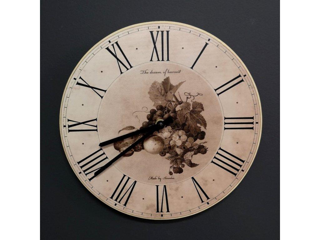 Dřevěné hodiny nástěnné kulaté s ovocem, masivní dřevo, barva sépie, průměr 25 cm