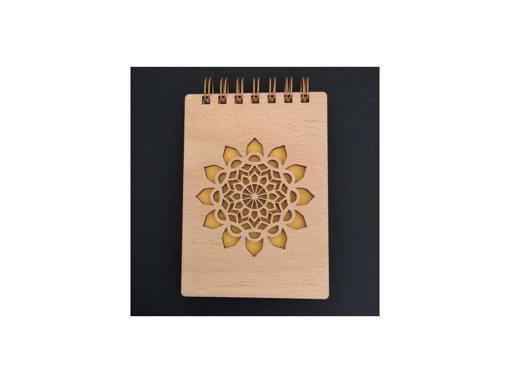 Dřevěný zápisník mandala