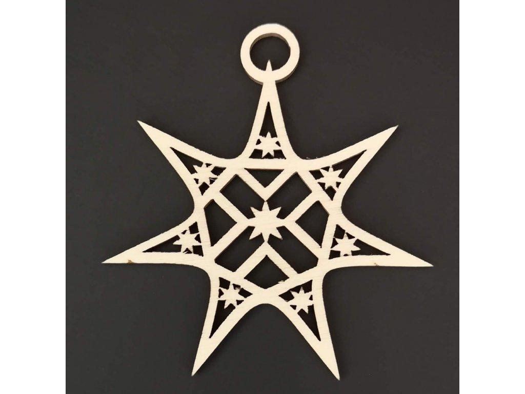 Dřevěná ozdoba hvězda s hvězdičkami 8 cm