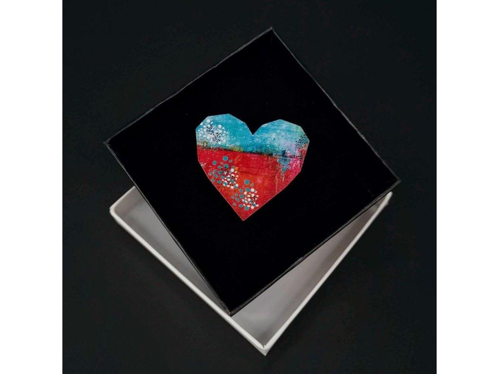 Dřevěná brož barevné srdce, 4,5 cm
