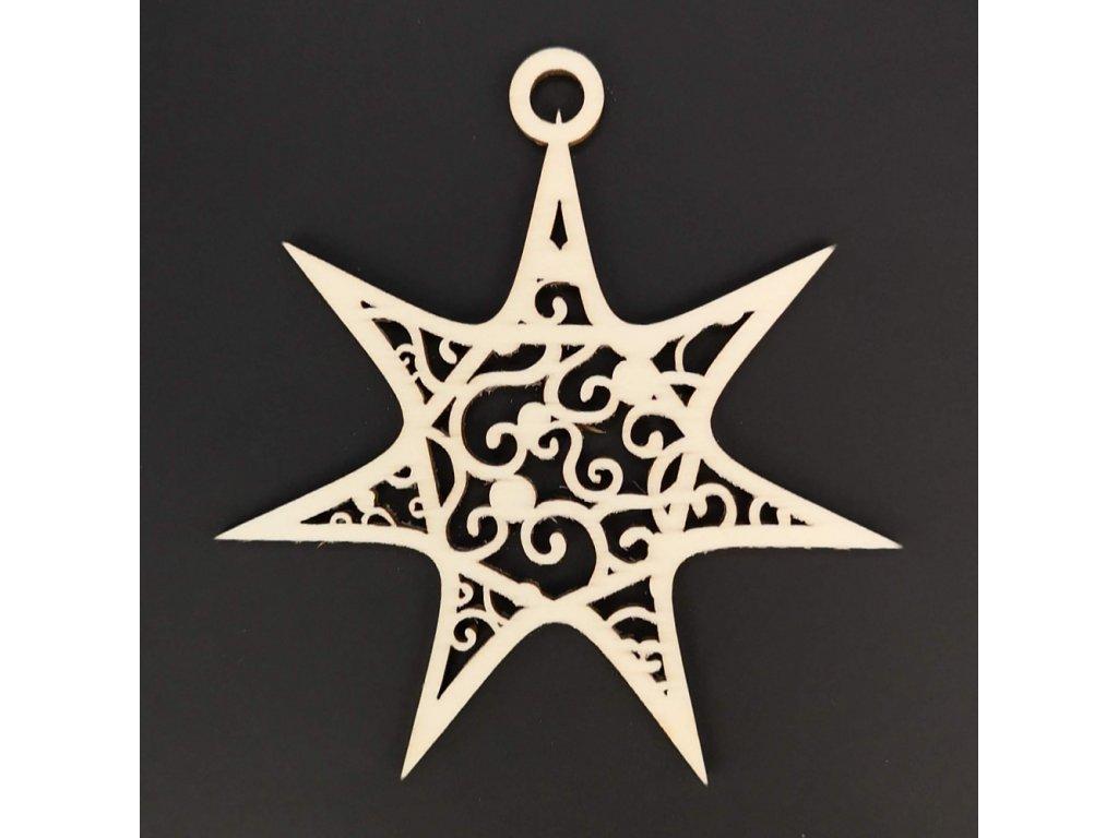Dřevěná ozdoba hvězda s ornamentem 8 cm