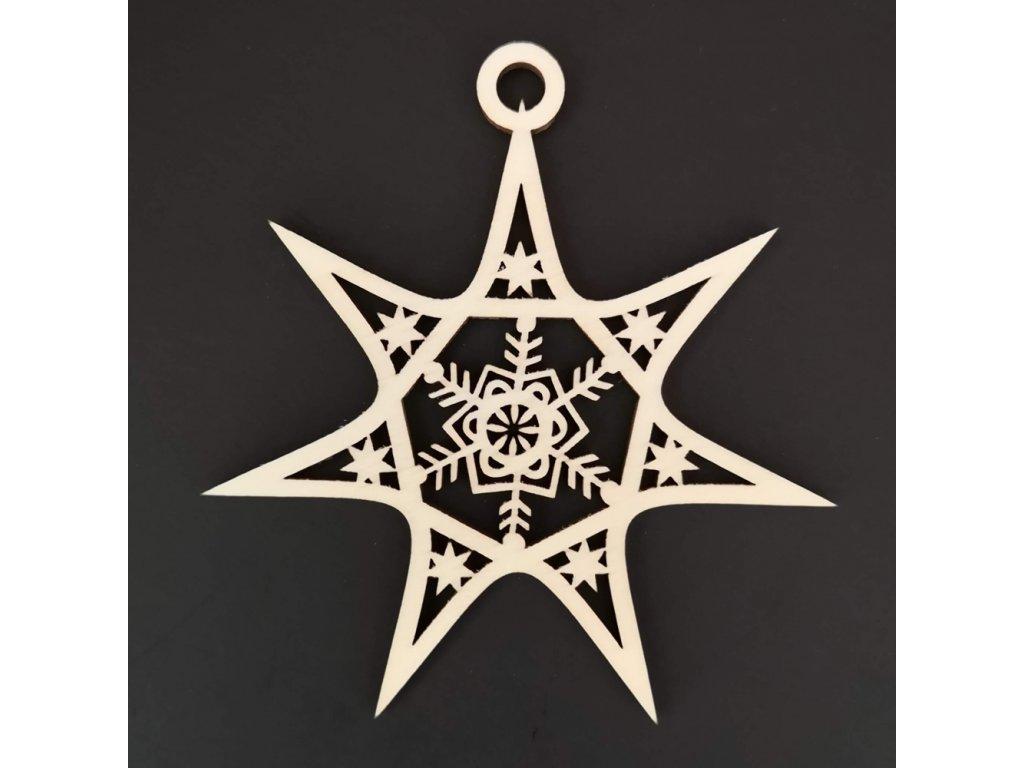 Dřevěná ozdoba hvězda s vločkou 8 cm