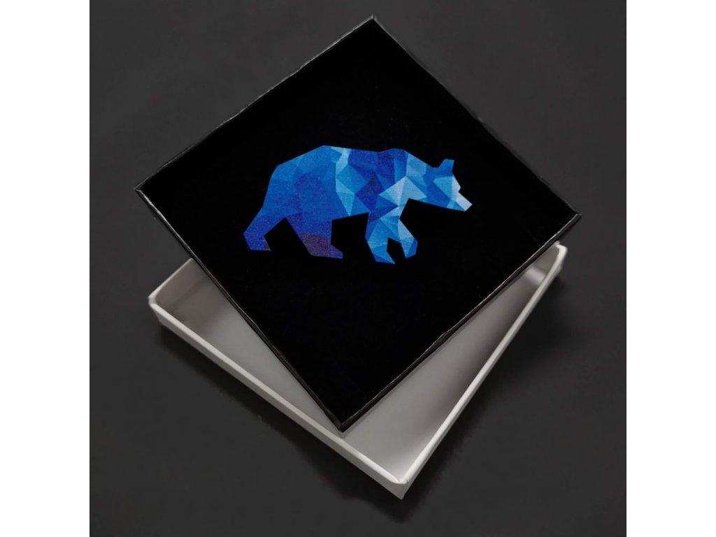 Dřevěná brož barevný medvěd, 6x3 cm