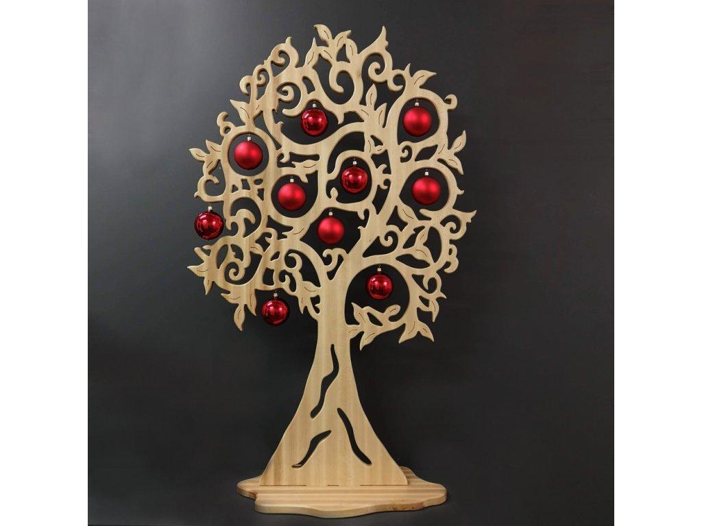 Maxi dekorace strom s červenými koulemi 158 cm