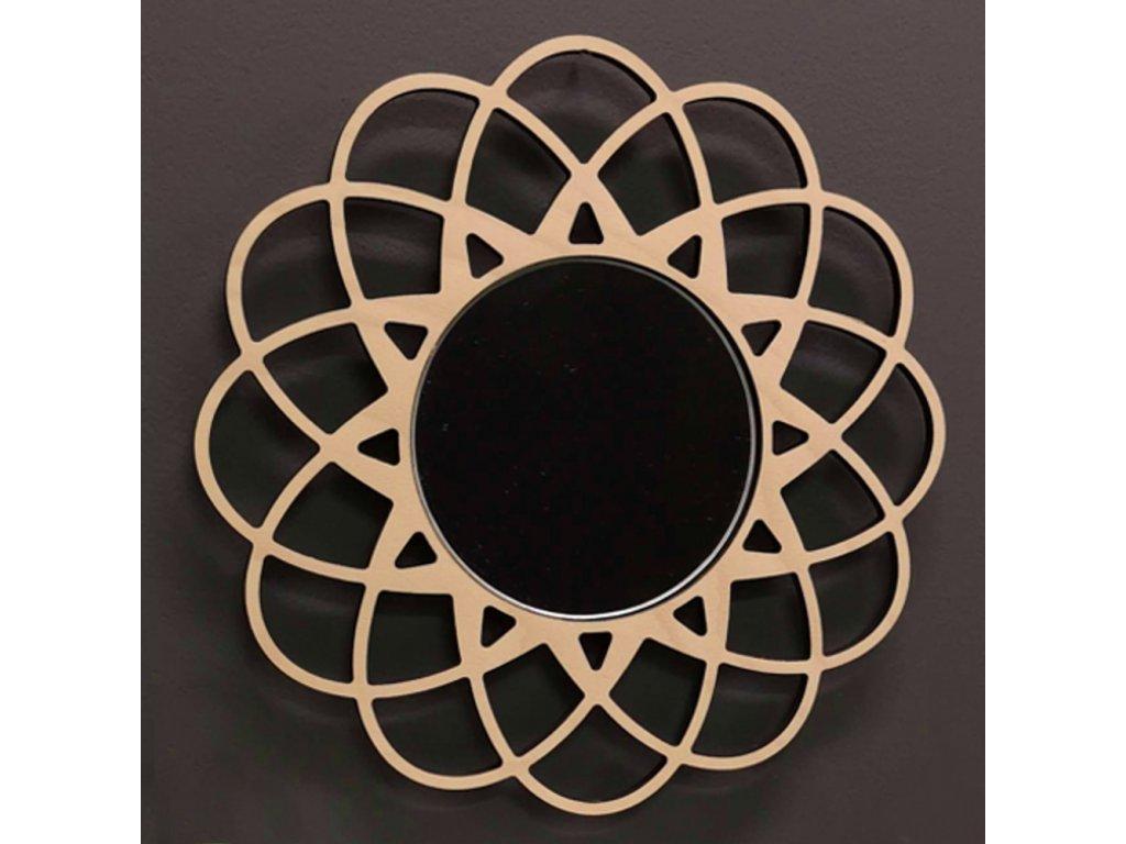 Dřevěné zrcadlo ve tvaru mandaly, masivní dřevo, průměr 30 cm
