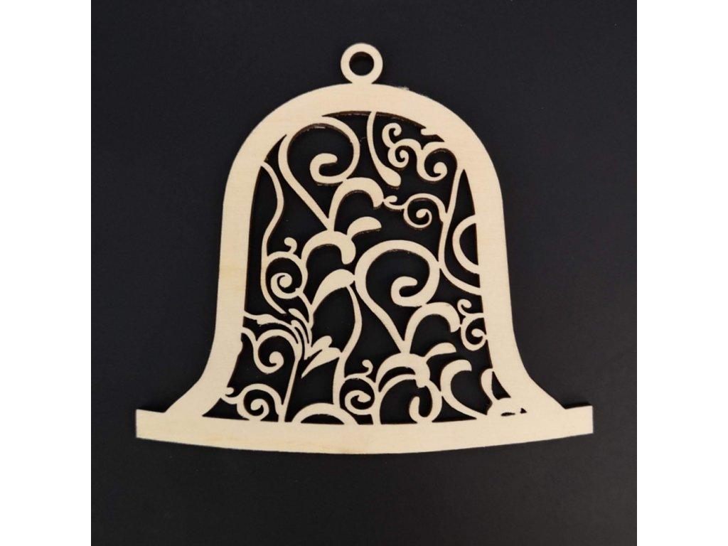 Dřevěná ozdoba zvonek s ornamentem 9 cm