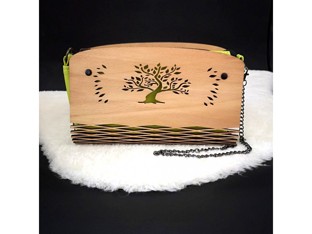 Dřevěná kabelka zelená - strom 25 cm