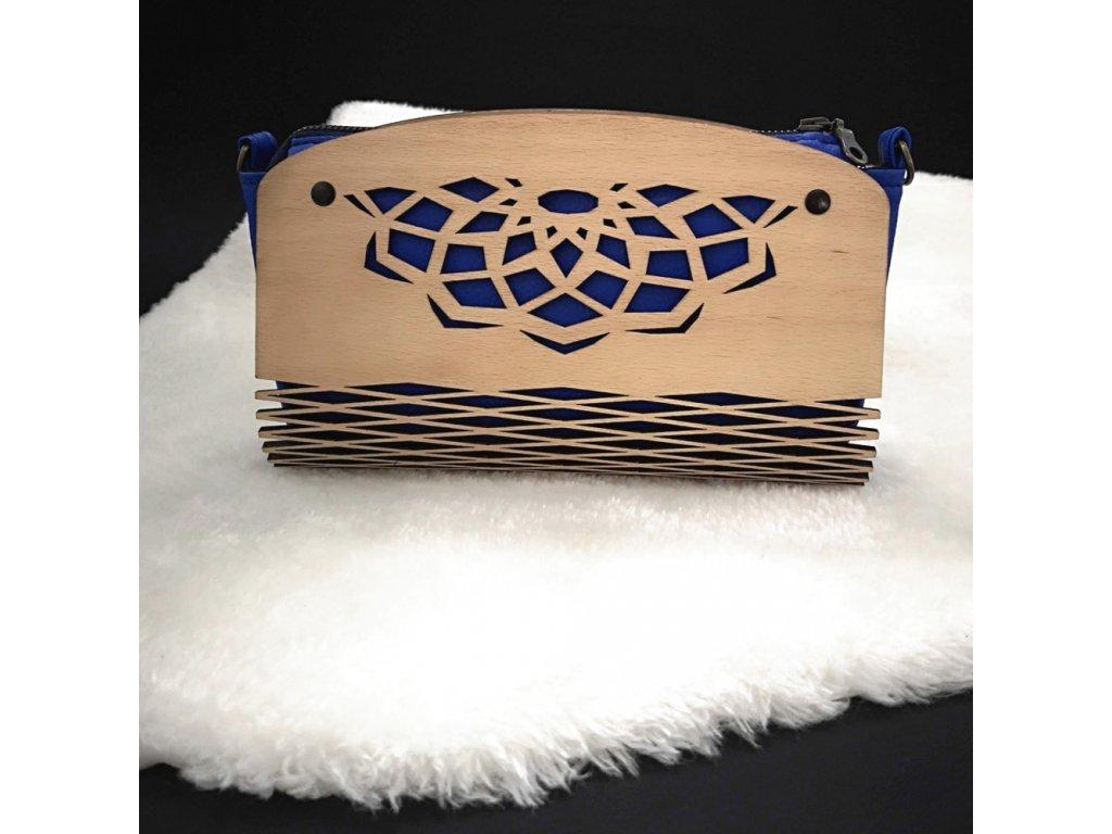 Dřevěná kabelka tmavě modrá - mandala 25 cm