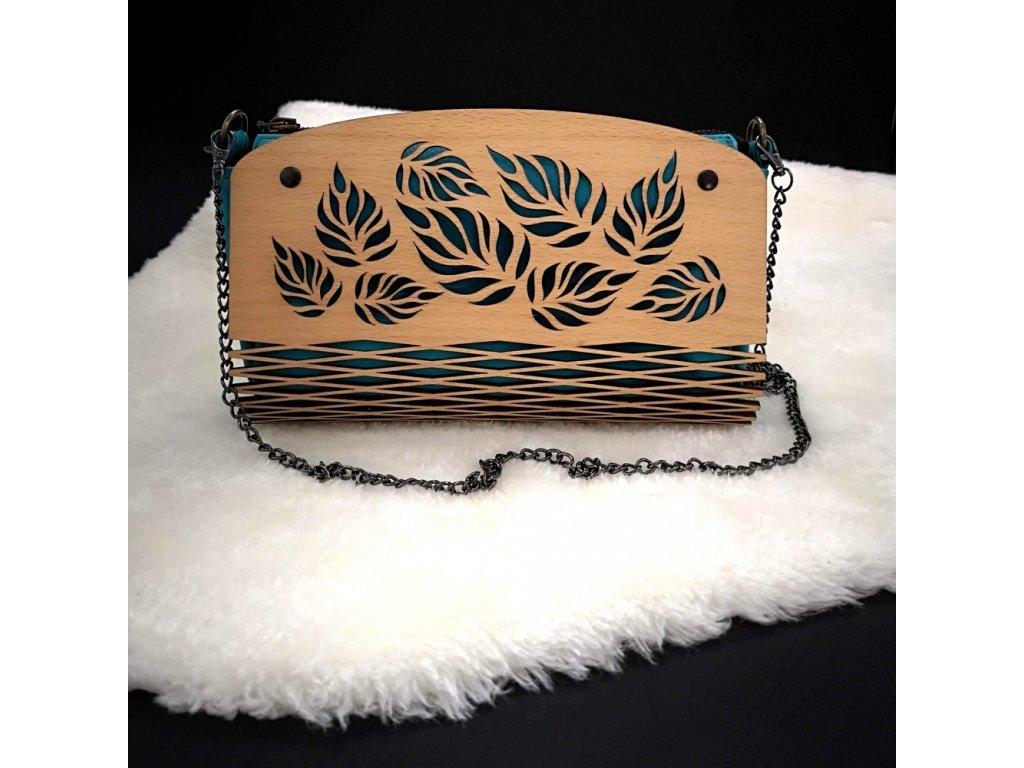 Dřevěná kabelka tyrkysová - listy 25 cm