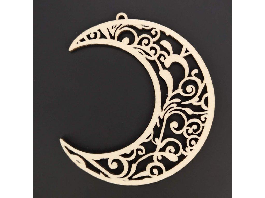 Dřevěná ozdoba měsíc 8 cm