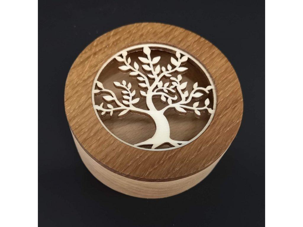 Dřevěná krabička kulatá s vkladem - strom, masivní dřevo, 8x3 cm