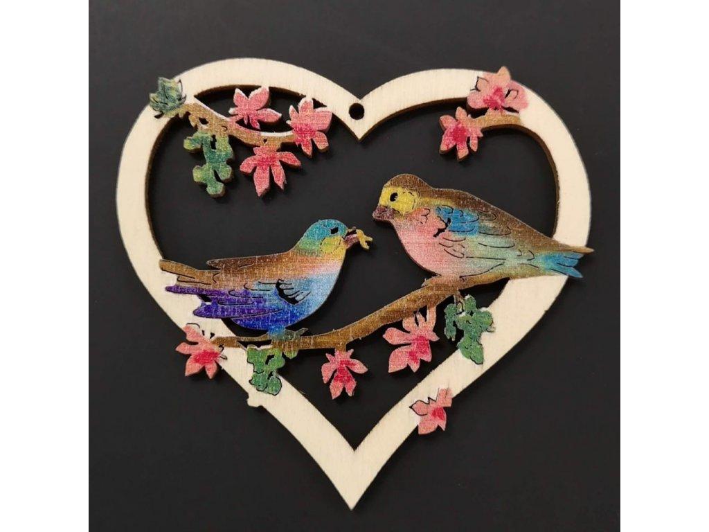 38560 Srdce ptáci 7,5cm, 19 Kč